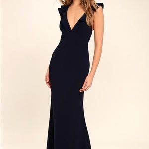 Lulus Perfect Opportunity Navy Blue Maxi Dress